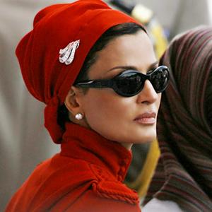 sheikha mozah in red